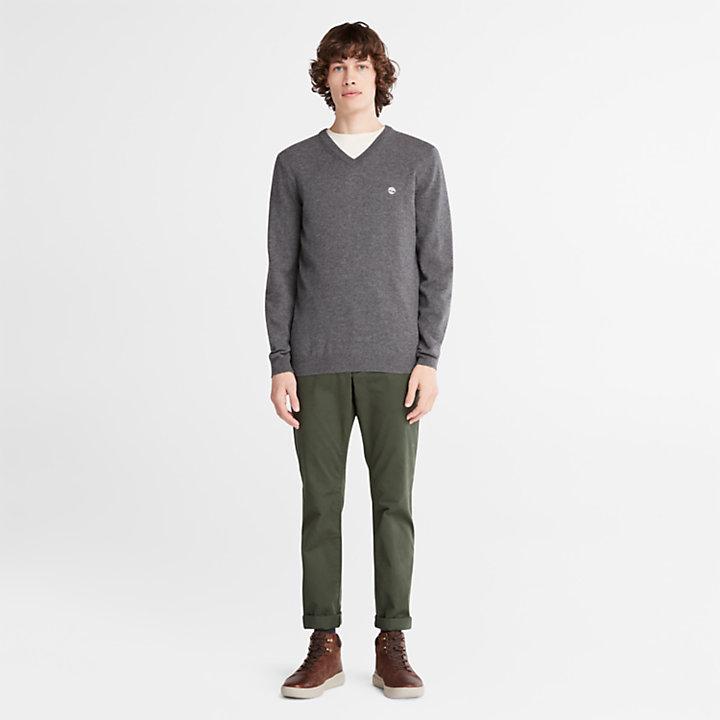 Cohas Brook V-Neck Sweater for Men in Dark Grey-