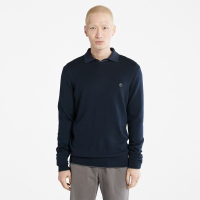 Nissitissit+River+Merino+Wool+sweater+voor+heren+in+marineblauw
