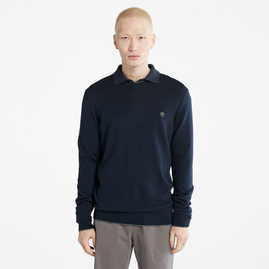Nissitissit River Merino Wool Sweater for Men in Navy | Timberland