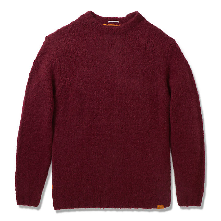 Soucook River Crew Sweater for Men in Burgundy-