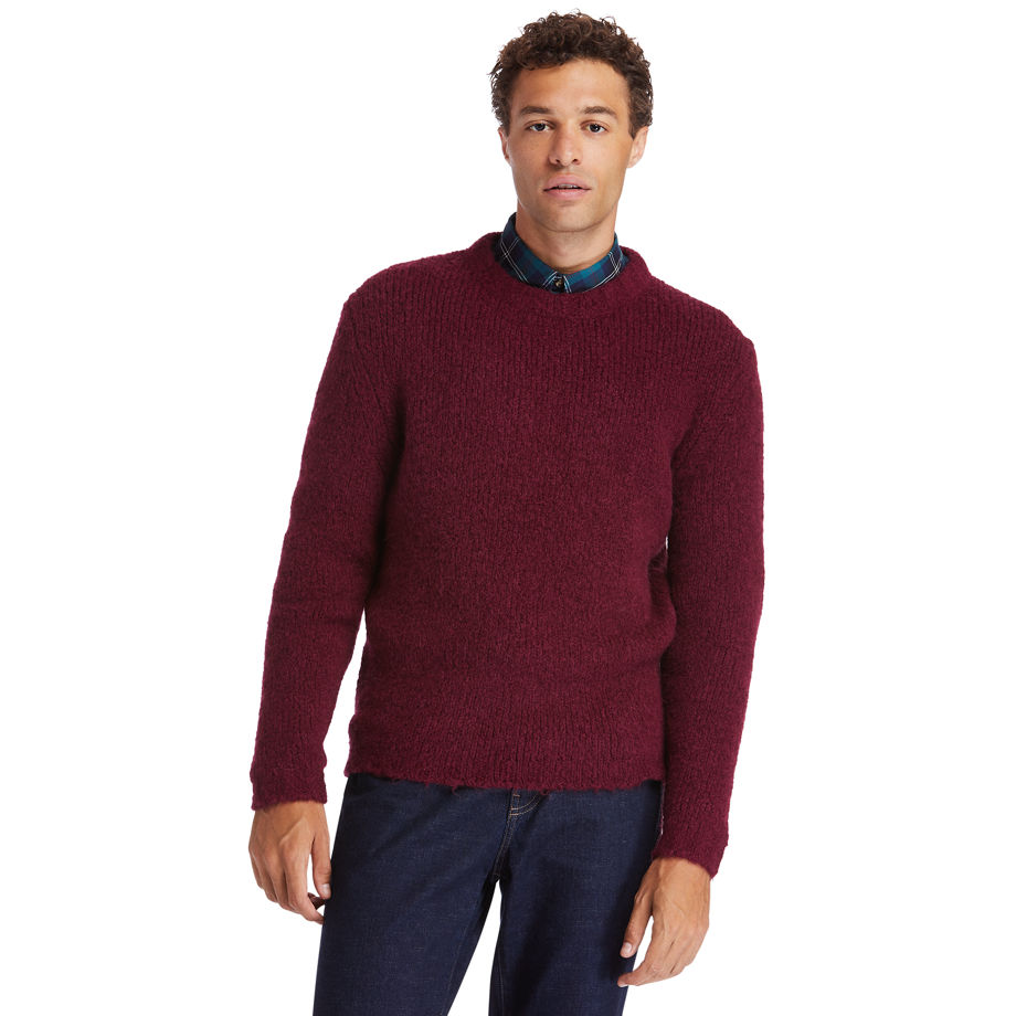 Timberland Soucook River Crew Sweater For Men In Burgundy Burgundy, Size S