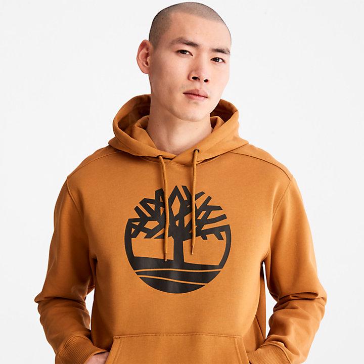 Felpa da Uomo con Cappuccio e Logo ad Albero Core in giallo-