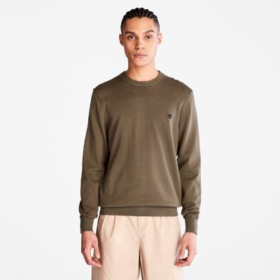 Maglione+da+Uomo+in+Cotone+Biologico+Williams+River+in+verde+scuro