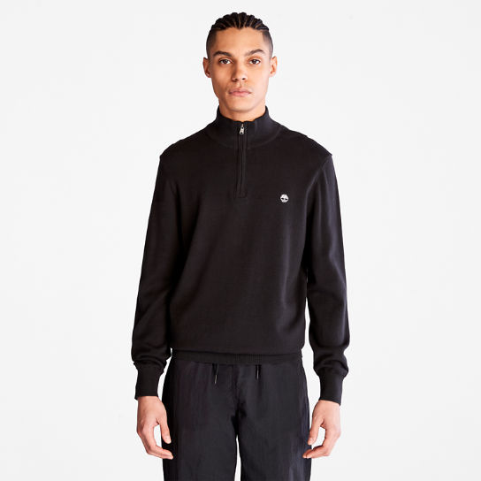 Williams River Zip-neck Sweater for Men in Black | Timberland