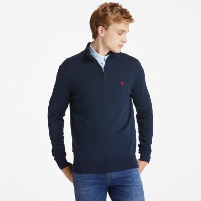 Williams+River+Zip-neck+Sweater+for+Men+in+Navy