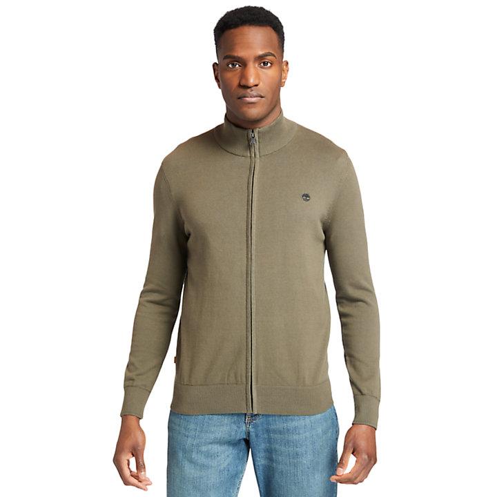 Williams River Full-Zip Sweater for Men in Dark Green-
