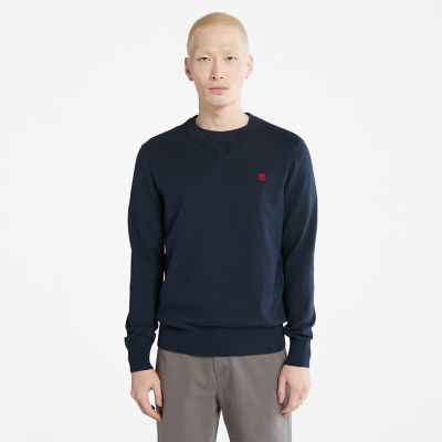 Williams+River+V-neck+Sweater+for+Men+in+Navy