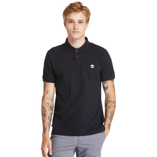 Millers River Organic Cotton Polo Shirt for Men in Black | Timberland