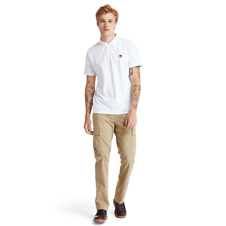 Millers River Organic Cotton Polo Shirt for Men in White-