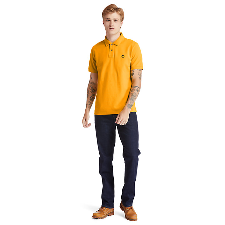 Millers River Organic Cotton Polo Shirt for Men in Orange-