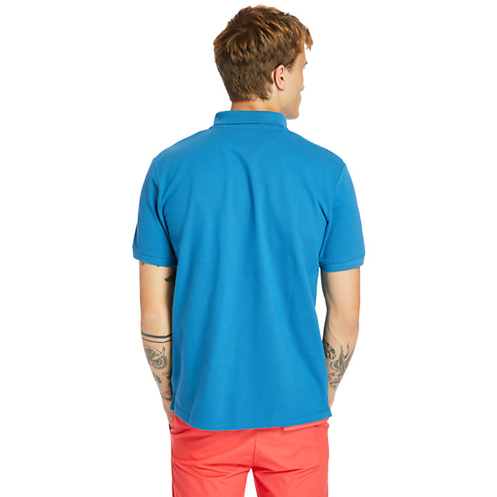 Polo de Algodón orgánico Millers River para hombre en azul verdoso-