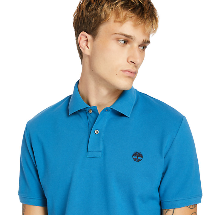 Polo Millers River en coton bio pour homme en bleu sarcelle-