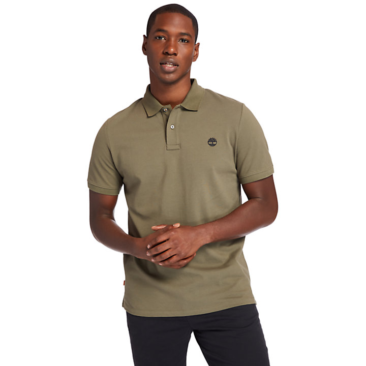 Millers River Organic Cotton Polo Shirt for Men in Dark Green-