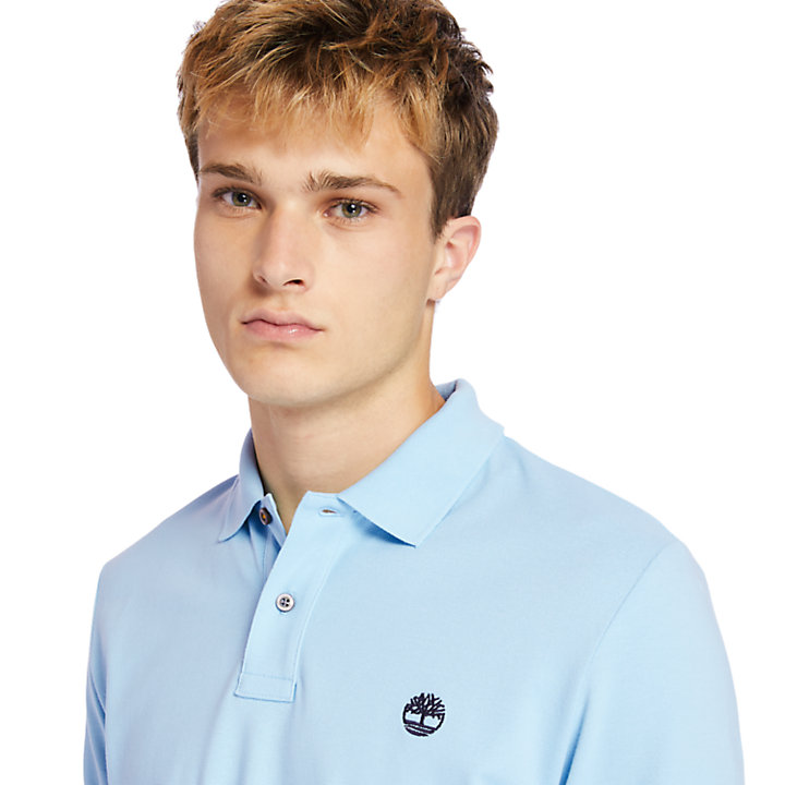Millers River Organic Cotton Polo Shirt for Men in Light Blue-
