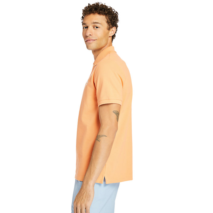 Millers River Organic Cotton Polo Shirt for Men in Peach-