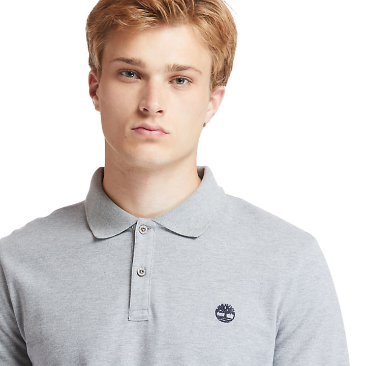 Millers River LS Polo Shirt for Men in Grey-