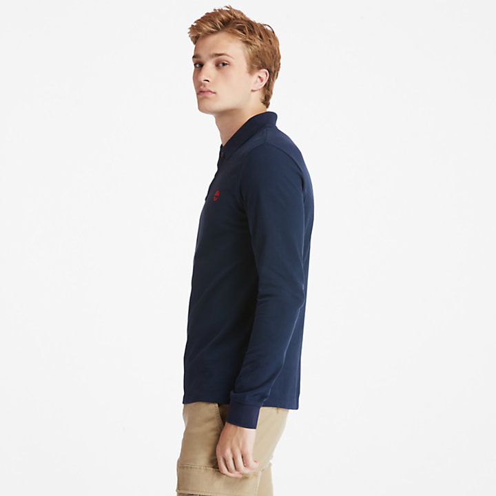 Millers River LS Polo Shirt for Men in Navy-