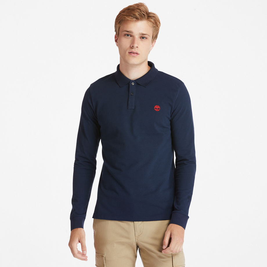 Timberland Millers River Ls Polo Shirt For Men In Navy Navy, Size S