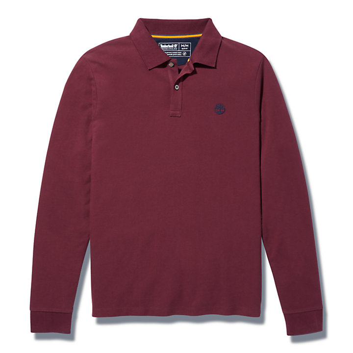 Millers River LS Polo Shirt for Men in Burgundy-