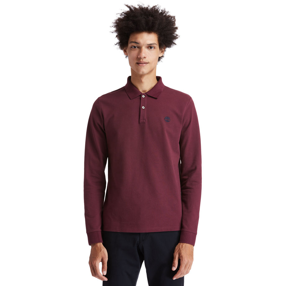 Timberland Millers River Ls Polo Shirt For Men In Burgundy Burgundy, Size 3XL