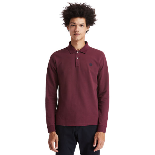 Millers River LS Polo Shirt for Men in Burgundy | Timberland
