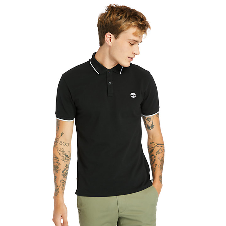 Millers River Tipped-collar Polo Shirt for Men in Black-