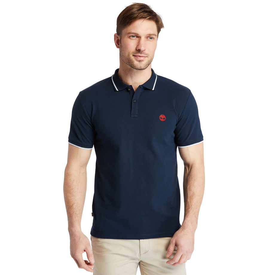Timberland Millers River Tipped-collar Polo Shirt For Men In Navy Navy, Size 3XL