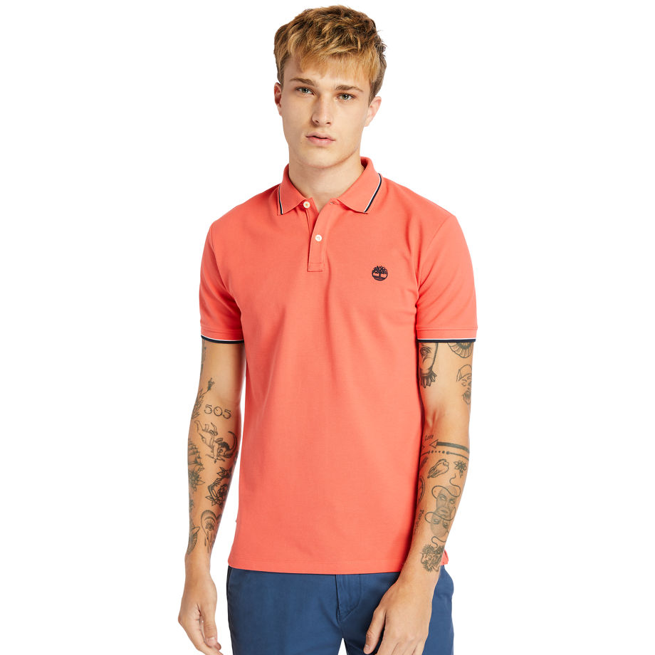 Timberland Millers River Tipped-collar Polo Shirt For Men In Red Red, Size L