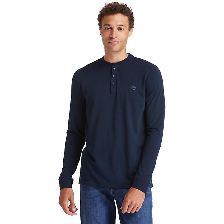 Chemise à col tunisien Cocheco River en coton Supima® pour homme en bleu marine-