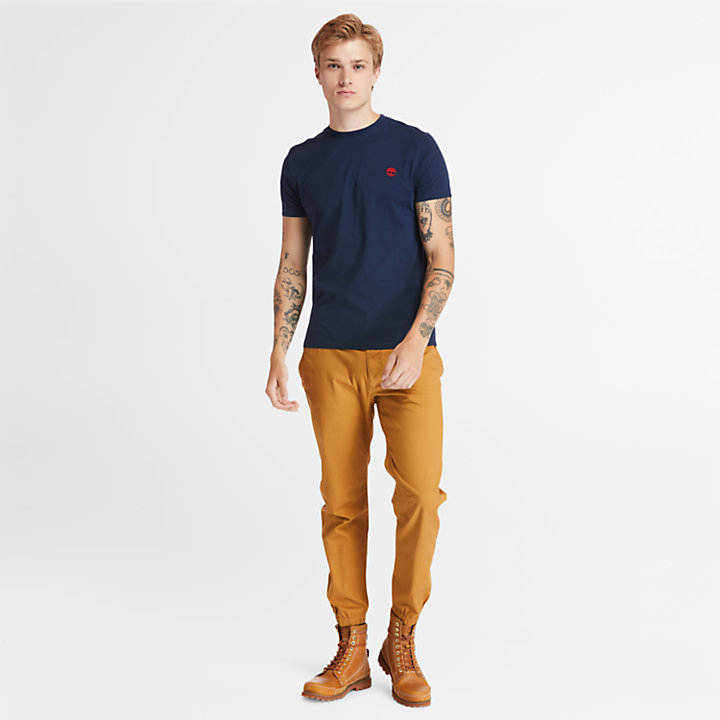 T-shirt Girocollo da Uomo Dunstan River in blu scuro-