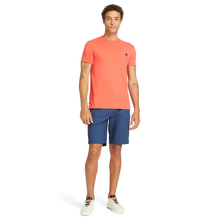 Dunstan River Crew Tee for Men in Coral-