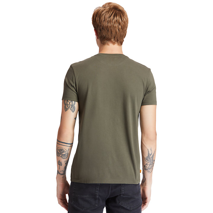 T-shirt Girocollo da Uomo Dunstan River in verde scuro-