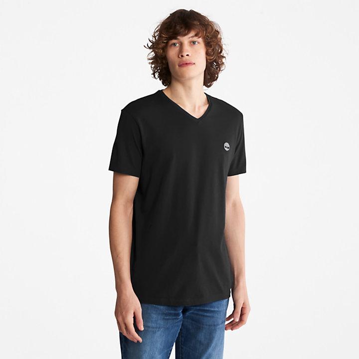 T-shirt Dunstan River à col en V pour homme en noir-