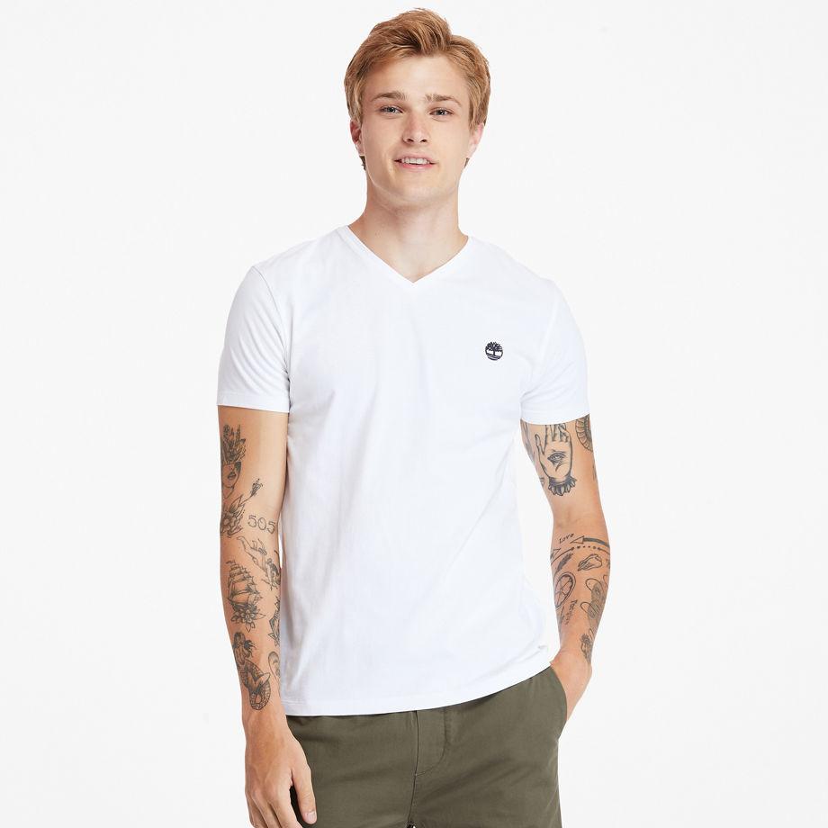 Timberland Dunstan River V-neck T-shirt For Men In White White, Size M
