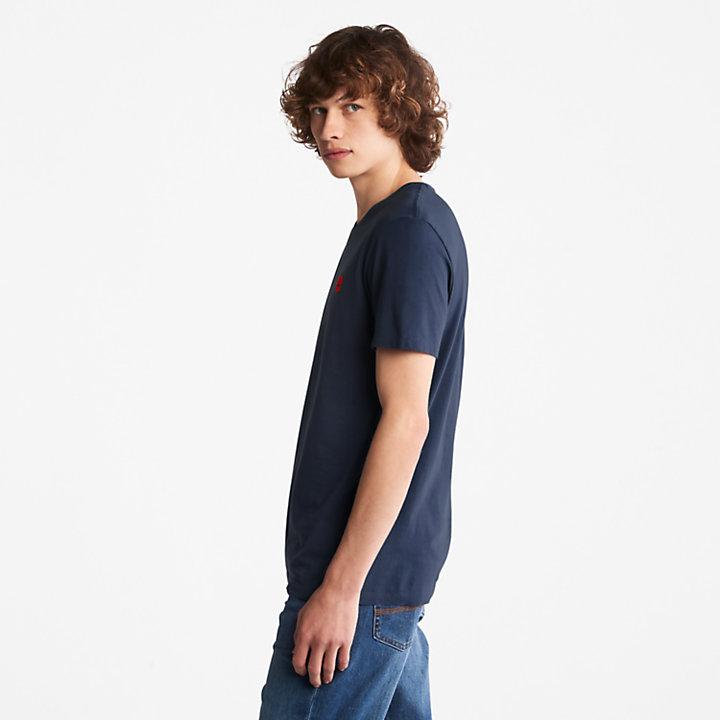 T-shirt da Uomo con Scollo a V Dunstan River in blu marino-