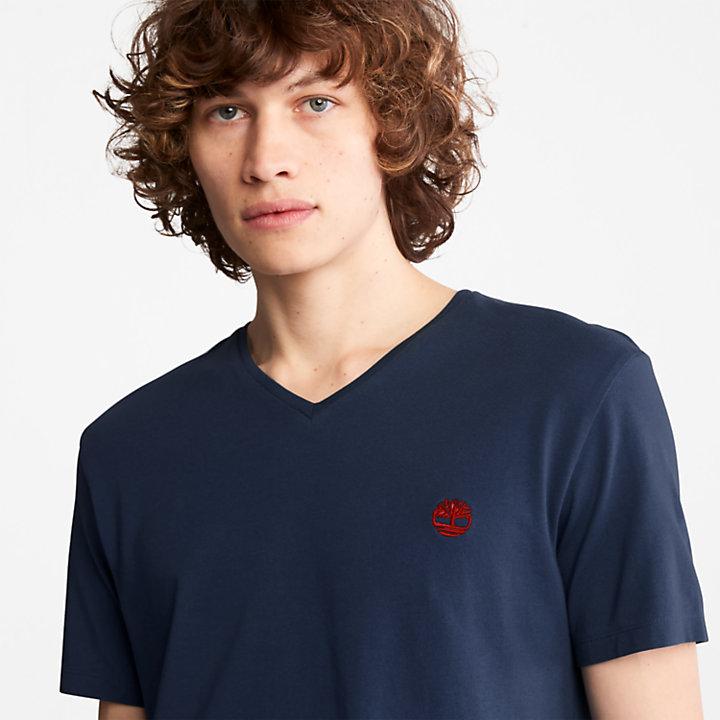Camiseta con cuello de pico Dunstan River para Hombre en azul marino-