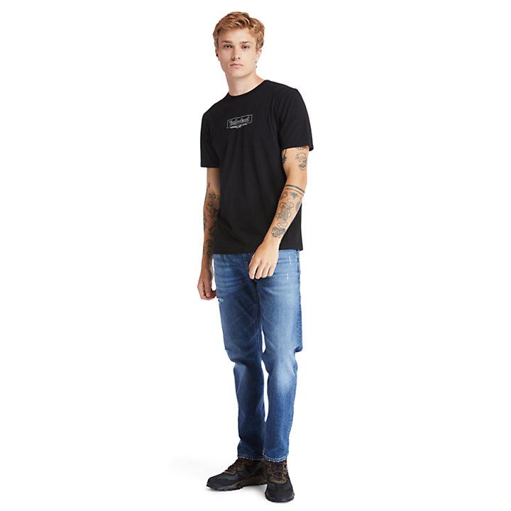 T-shirt en coton biologique à col rond Kennebec River pour homme en noir-