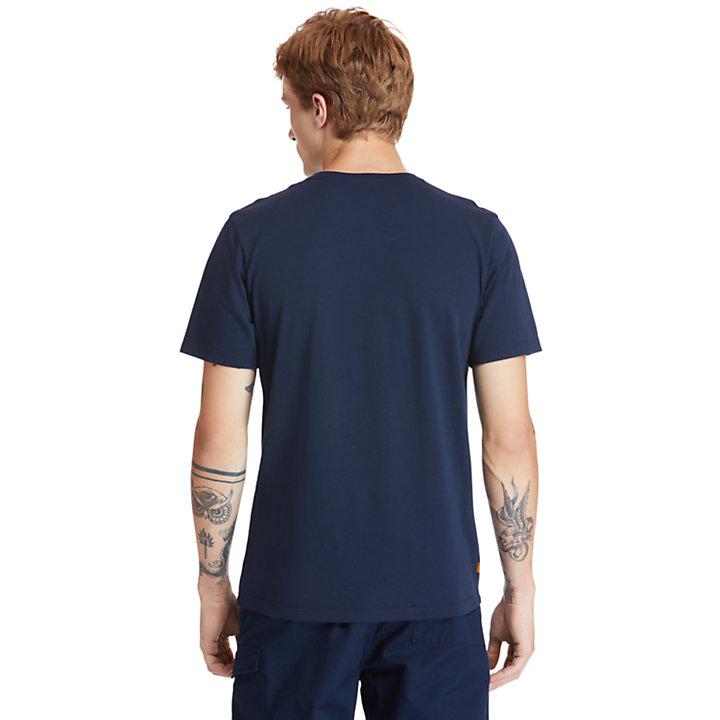 Camiseta con Cuello Redondo en Algodón Orgánico Kennebec River para Hombre en azul marino-