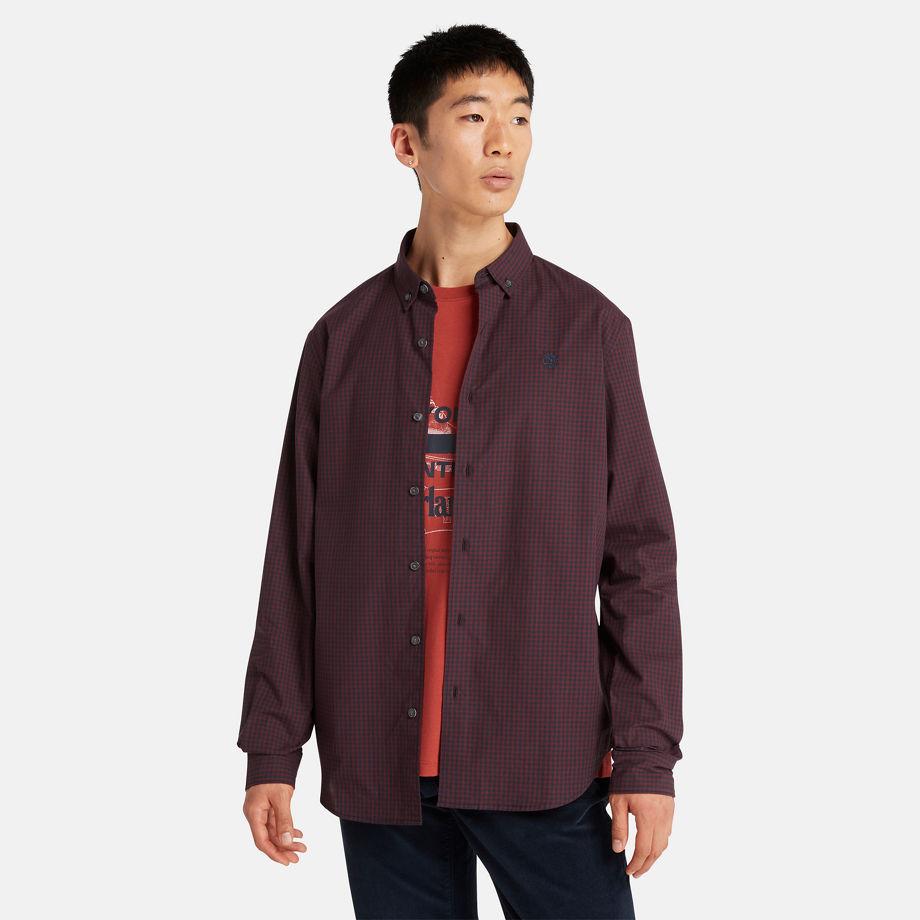 Timberland Suncook River Gingham Shirt For Men In Burgundy Burgundy, Size XL