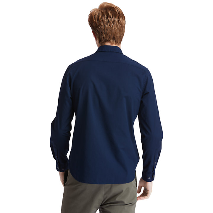 Eastham River Stretch Poplin Overhemd voor heren in marineblauw-