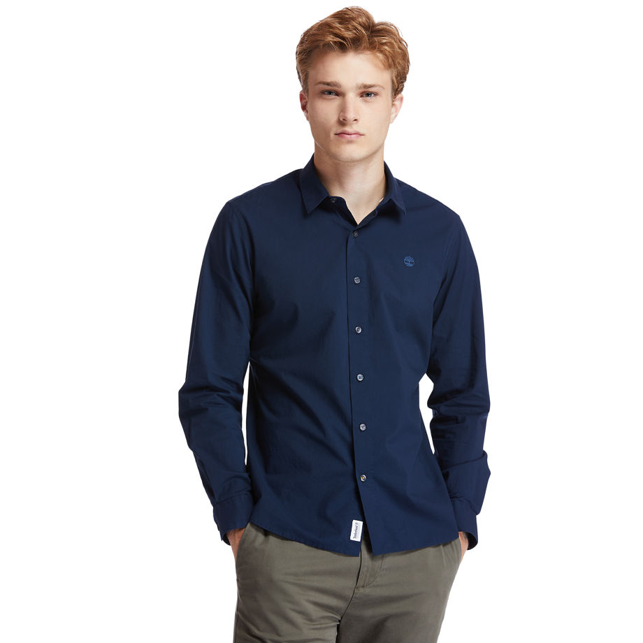 Timberland Eastham River Stretch Poplin Shirt For Men In Navy Navy, Size XXL
