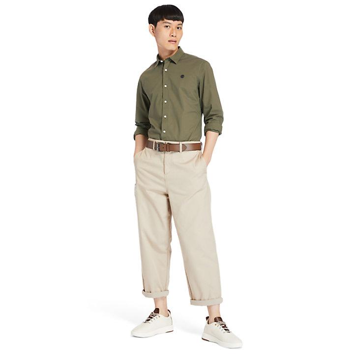 Camisa en Popelina Elástica Eastham River para Hombre en verde-