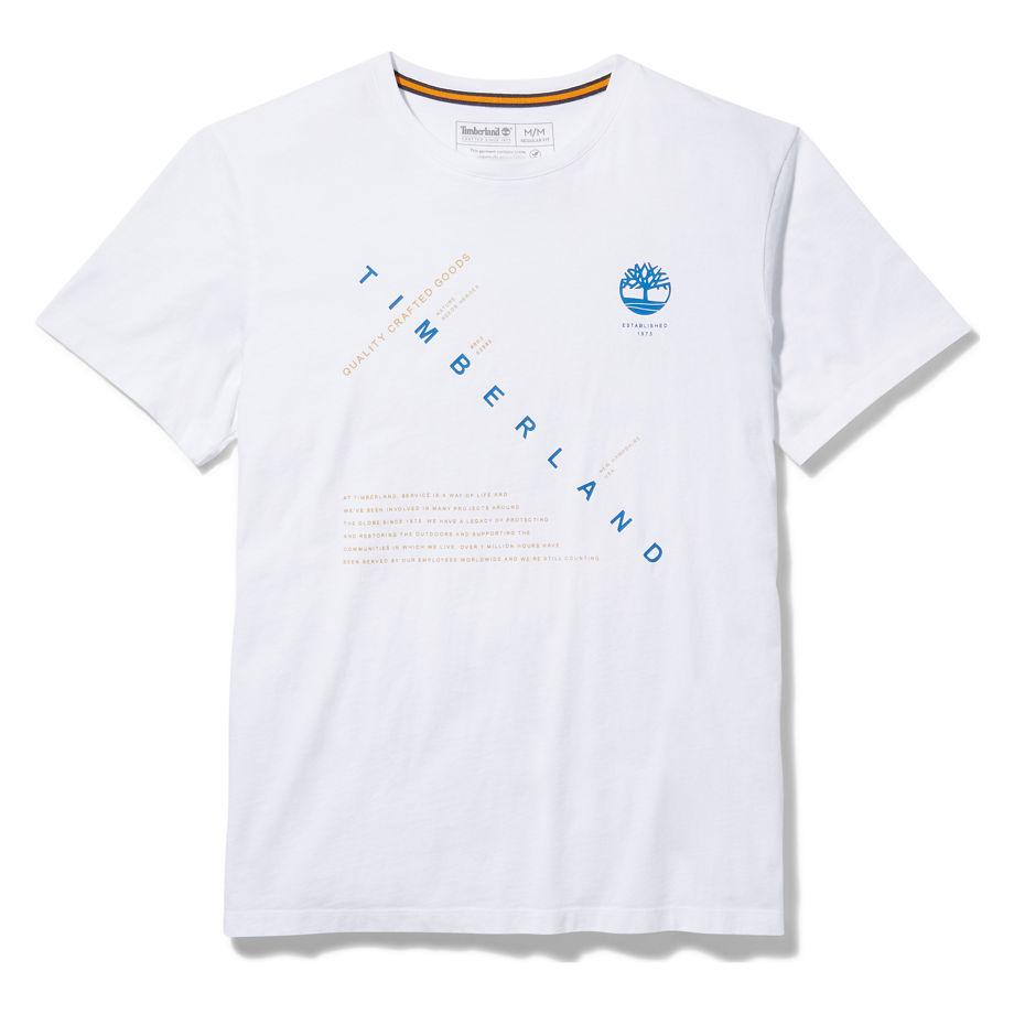Timberland Kennebec River Storytelling T-shirt For Men In White White, Size M