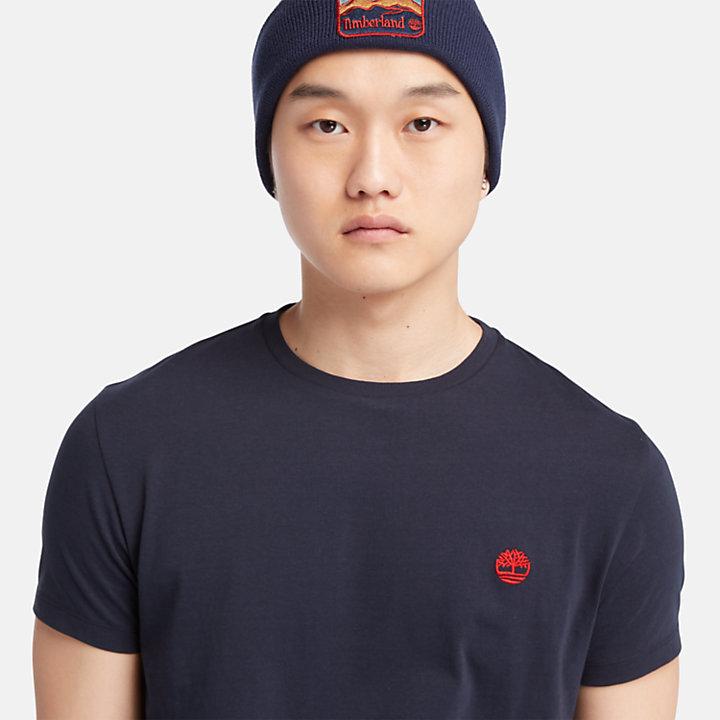 T-shirt en coton avec logo pour homme en bleu marine-