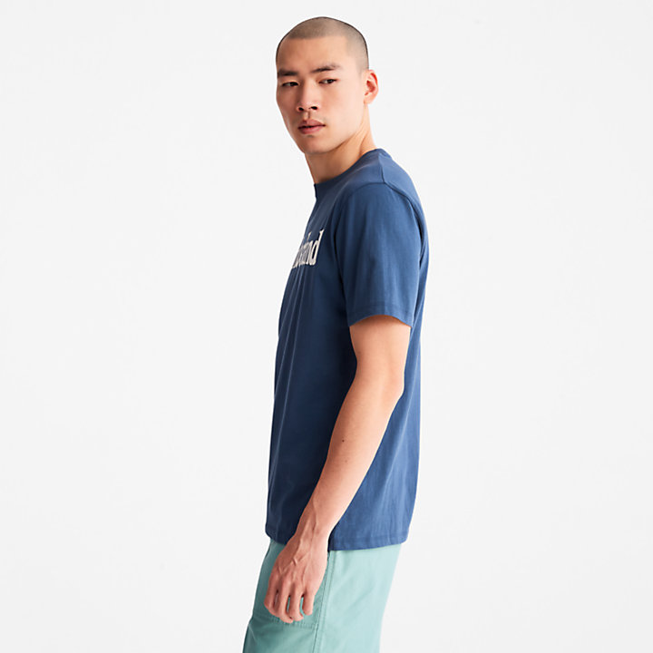 T-shirt à logo linéaire pour homme en bleu foncé-