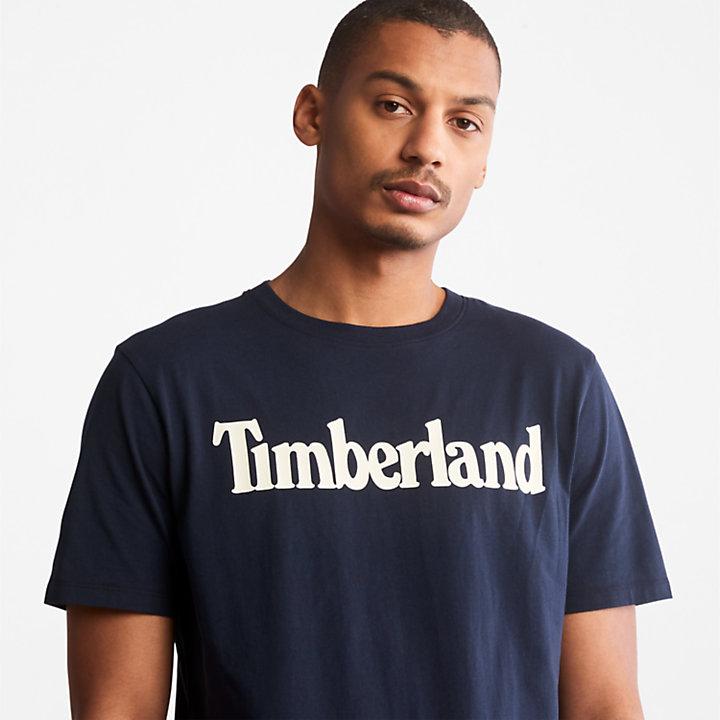 Linear Logo T-Shirt for Men in Navy-