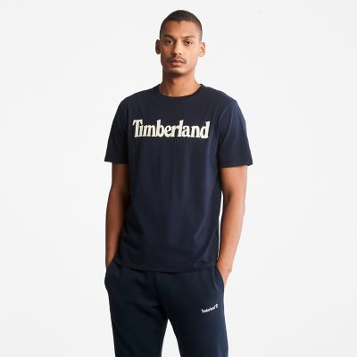 Linear+Logo+T-Shirt+for+Men+in+Navy