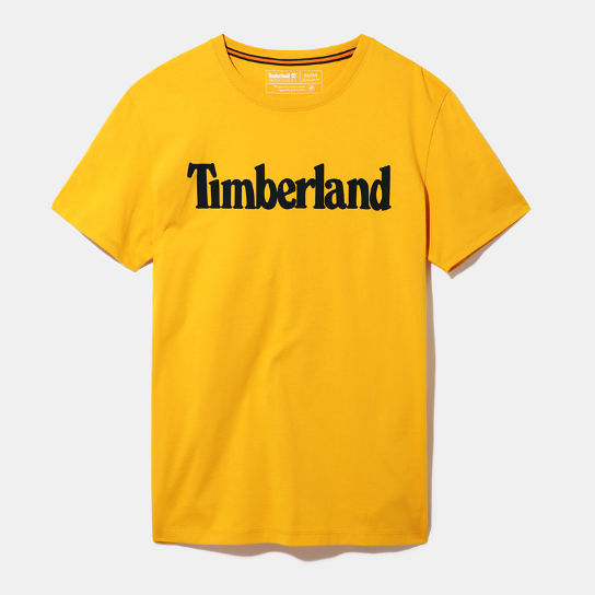 Linear Logo T-Shirt for Men in Yellow | Timberland