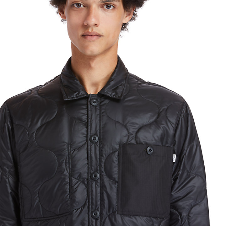 Insulated Overshirt for Men in Black-