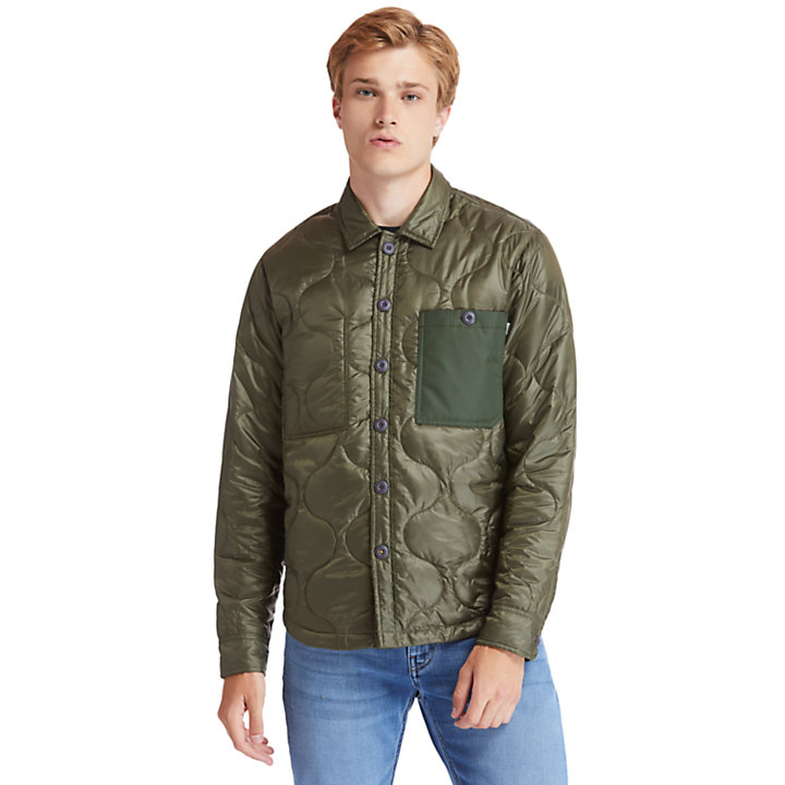 Insulated Overshirt for Men in Green-